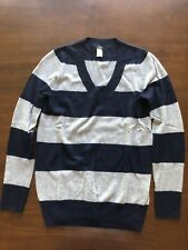 JCrew Factory 100% Cashmere Rugby Stripe V-neck Sweater Long Sleeve Sz S