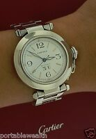 CARTIER 35mm Pasha Midsize Watch Large Date Stainless 2475 Papers Box Automatic