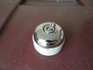 Ancien interrupteur porcelaine et chrome,electricité vintage déco