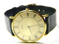 mens piaget manual wind 18k solid gold 18j roman numeral dress watch model # 9p2