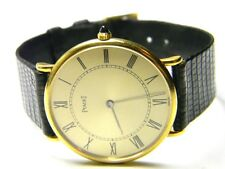 mens piaget manual wind 18k solid gold 18j roman numeral dress watch model # 9p2