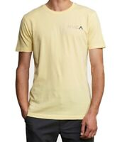 RVCA Mens T-Shirt Light Yellow Size Medium M Crew Logo Graphic Tee $27- 404