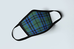 Clan Keith Tartan Face Mask Scottish Family Plaid Covering Green Blue Mask