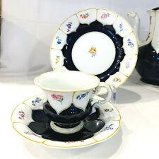 Meissen B-Form Kobalt Streublume Kaffeetasse 3 tlg Tasse Untertasse Kuchenteller