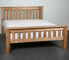 4ft6 Double Bed STRONG Frame Solid Pine Wood HIDDEN FITTINGS Chunky Style HF