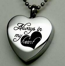 ALWAYS IN MY HEART CREMATION JEWELRY SILVER URN NECKLACE MEMORIAL KEEPSAKE E