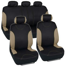 Beige/Black Car Seat Covers Set 9 PC Bucatti Headrest Covers Sedan Truck SUV Van