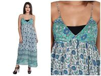 cotton green blue floral vintage print women's sleeveless halter neck maxi dress