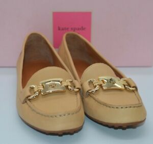 New $158 kate spade New York Carson SoftCalf Leather Loafer Buff 8.5 Gold Charm