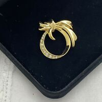 VINTAGE Sparkly Ribbon Brooch Gold Tone Collar Pin Retro Glasses Holder Loop