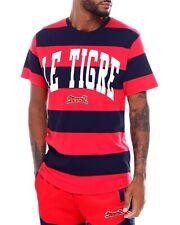 LE TIGRE Mens size XXL 2XL Graphic Logo T-Shirt Short Sleeve Blue Red Stripe NWT