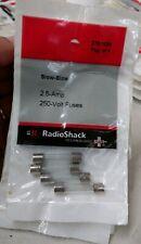 2.5 Amp 250 Volt Fuses RadioShack #2701024 Lot of 10 4-packs