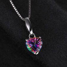 Lovely 18mm Genuine Mystic Rainbow Topaz Heart Pendant Necklace Sterling Silver