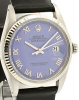 Mens ROLEX Oyster Perpetual Datejust 36mm PURPLE Silver Roman Dial Watch