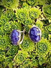Earrings Russian Rose gold plated Sterling Silver natur Charoite purple USSR SET