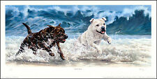 "STAFFORDSHIRE BULL TERRIER DOG LIMITED EDITION PRINT ""Beach Boys"" Staffie Staff"