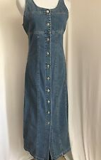 Gap Blue Jean Denim Sleeveless Dress Full Length Button Front Size 8 Modest