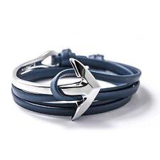Anchor Wrap Bracelet Nappa Leather Blue & Silver