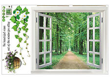 Huge Window 3D View Flowers Plant Wall Stickers Art Mural Decal Wallpaper ED