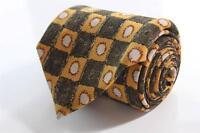 ERMENEGILDO ZEGNA Silk Tie. Yellow & Brown Square Round Geometric. Made in Italy