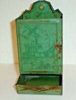 Antique Dutch Windmill Scene Green Metal Primitive Wall Mount Match Safe Holder