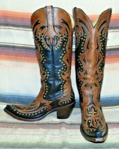 Womens Corral G1072 Brown Leather Tall Cowboy Boots 8.5 B Excellent Condition