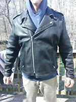 NATAL Leathers Black CLASSIC CRUISER HEAVY LINED Leather Motorcycle JACKET SZ 52