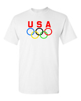 Olympic Rings USA Logo T-Shirt - Swim Ski Track Fun Sports Tee 2018