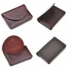 Nombre de cuero marrón de bolsillo tarjeta de identificación de tarjeta de presentación Soporte Tarjeta de Crédito Estuche Billetera