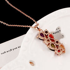 Cheap Rose Gold Plated Colorful Line Rhinestone Pendant Necklace Chain Fine Gift
