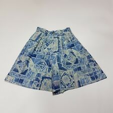 Vintage Shorts 80s Long Line High Waist Blue Stained Glass Tribal Print | 4