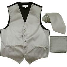 New Men's Horizontal Stripes Tuxedo Vest Waistcoat_tie & hankie Set silver prom
