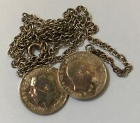 Vintage Sterling Silver Two Coins Pendant (3 Pence) dated 1908/1914 Weight 6g