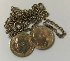 More details for vintage sterling silver two coins pendant (3 pence) dated 1908/1914 weight 6g