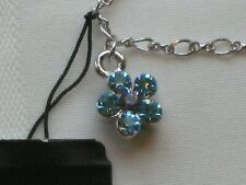 Cookie Lee 9-inch (23cm) anklet - silver tone with dual sided crystal flower