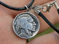 Buffalo Indian  coin  necklace pendant  leather chain nice gift motorcycle biker