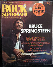 "1975 ROCK SUPERSTARS Poster Magazine No.5 BRUCE SPRINGSTEEN + 36"" x 22"" Poster"