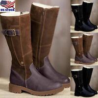 Womens Winter Fur Lined Mid Calf Boots Casual Buckle Zipper Flats Boots Shoes US