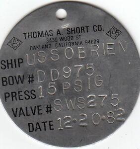 USS O'Brien DD-975 equipment tag