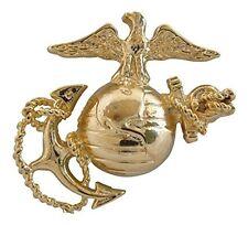 "Marine Corps E1 Left Gold Cap Global Emblem USMC Lapel / Hat Pin 1-3/4"""