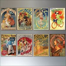 Vintage French Art Nouveau Bohemian Poster Prints Fridge Magnets set of 8