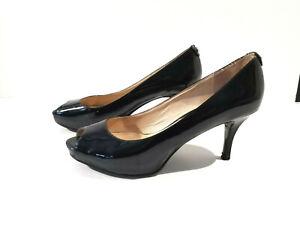 MICHAEL KORS Black Patent Leather Pumps Sz 7.5 M Peep Toe High Heel Rubber Sole