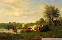 Huge art Oil painting cows in sunset landscape by the pond on canvas 36""