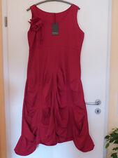 BORIS INDUSTRIES Kleid Raffungen Blume 40 42 (2) NEU! rot A-Form LAGENLOOK