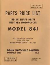 1942 INDIAN MOTORCYCLE- SHAFT DRIVE MILITARY PARTS LIST