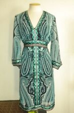 INC INTERANTIONAL CONCEPTS MS SIZE 6 BLACK AND GREEN PAISLEY PRINT FASHION DRESS