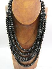 Damen Frauen Ethno Halskette Naturmaterialien Holz Perlen schwarz Collier NEU!