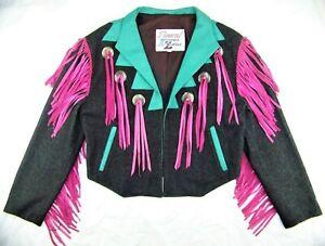 Vtg DIAMOND DENIM & LEATHER Rodeo Western Lthr Laces Women Cowgirl Jacket MedUSA