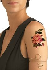 SHIP FROM NY -  Temporary Tattoo  - Pink Rose - Vintage Flower