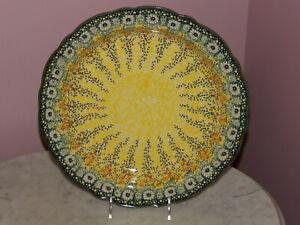 Polish Pottery Medium Scalloped Platter! UNIKAT Signature Exclusive Miss Daisy!